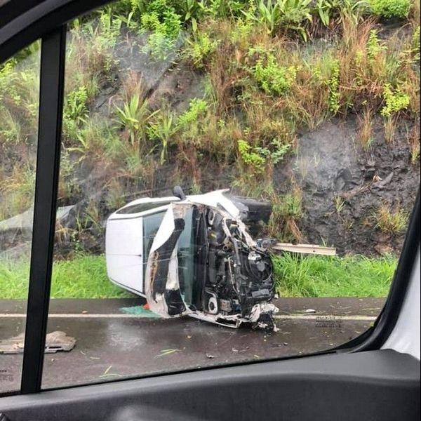 Fortes pluies accident Pont Vinh San Saint-Denis 210120