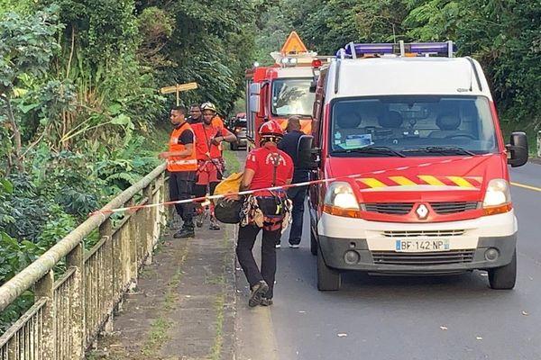 Accident sur le pont de Dolé, à Gourbeyre