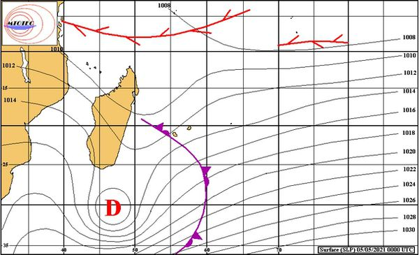 Carte isobarique océan indien 5 mai 2021