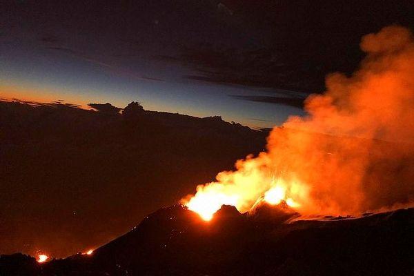 Eruption La Fournaise à l'aube du 13 février 2020