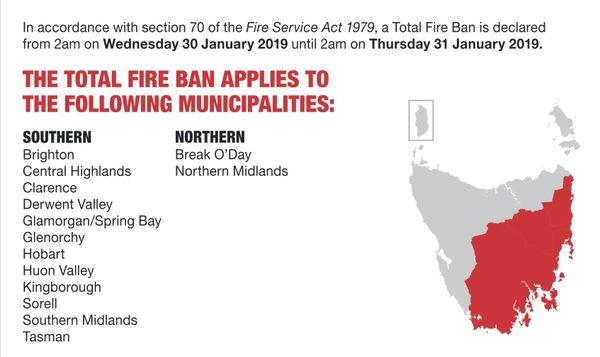 Tasmanie : Interdiction totale de faire du feu