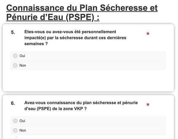 Questionnaire plan sécheresse VKP