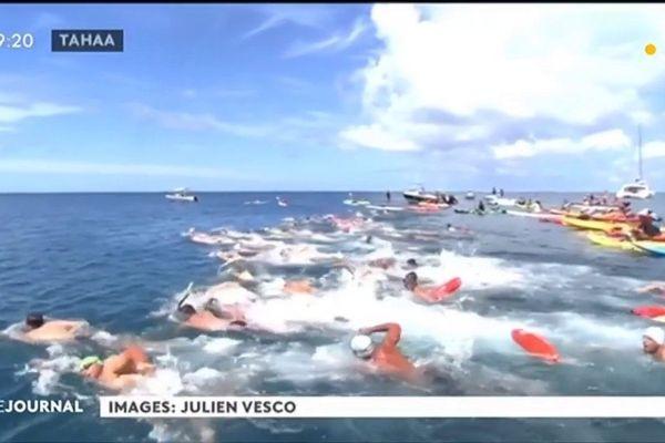 80 nageurs engagés dans la 7e channel race entre Tahaa et Raiatea