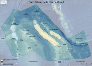 Parc naturel de la mer de Corail, carte de 2015