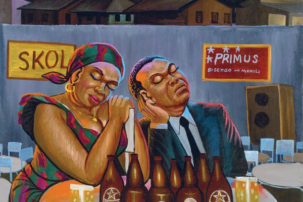 "Moké (1950-2001, Congo), ""Skol Primus"", 1991, huile sur toile."