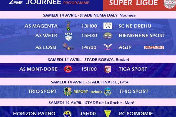 Programme 2ème journée Super ligue