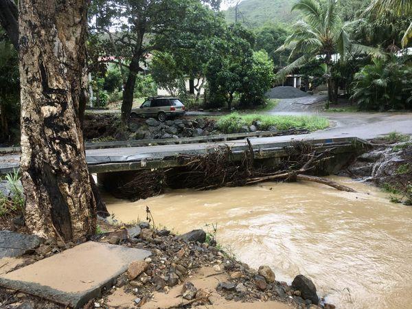 Païta inondations. Pont lotissement Rolland