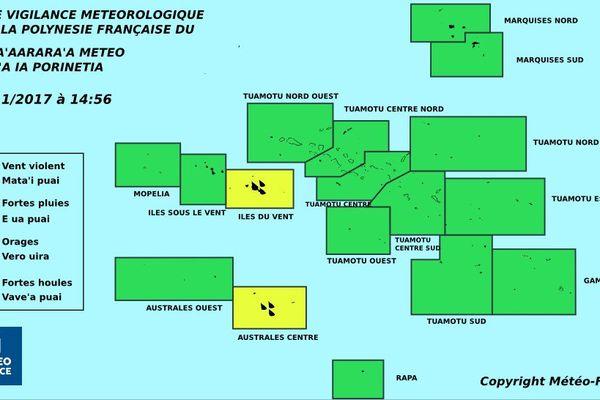 Vigilance jaune pour les fortes pluies aux Iles Du Vent et aux Australes centre
