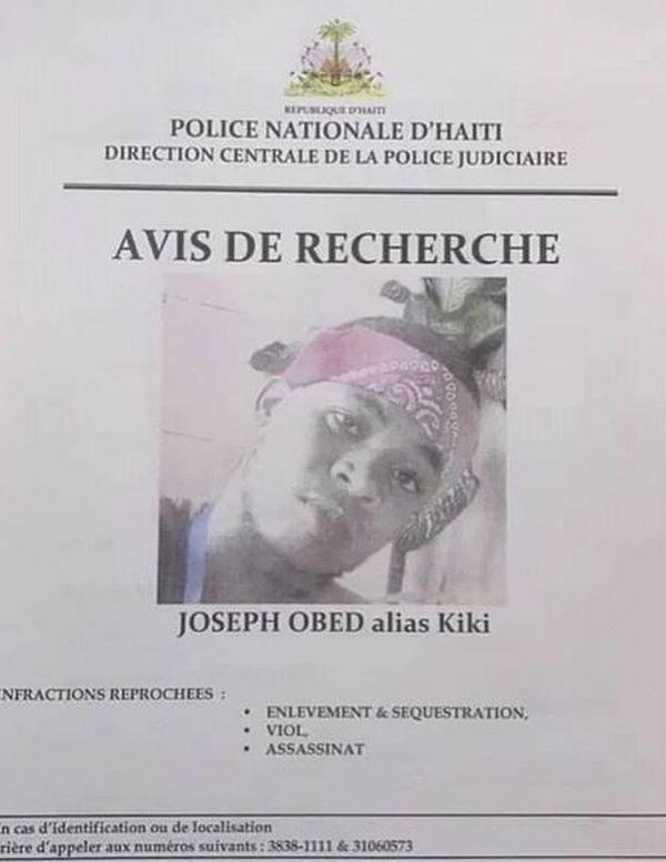 Joseph Obed avis de recherche
