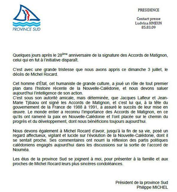 Rocard réaction Province Sud