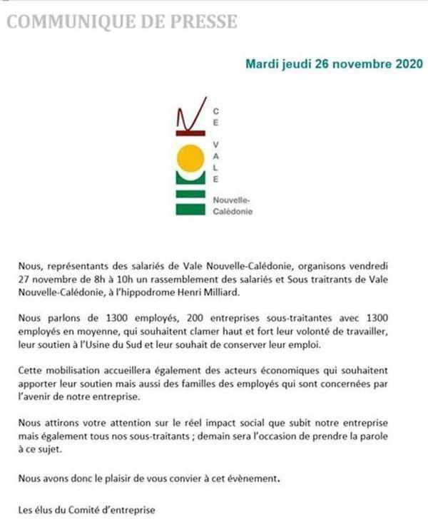 Communiqué salariés et sous-traitants Vale 26 novembre 2020