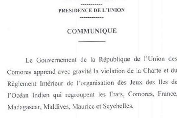 Communiqué Comores