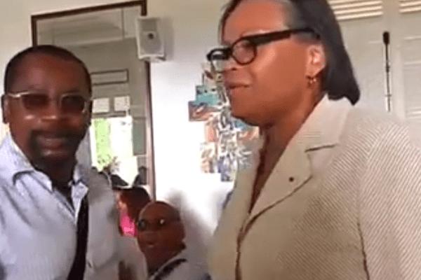 Patrick Collet, président du syndicat des gérants de stations-service et Marcelle Pierrot, Préfete de Guadeloupe.jpeg