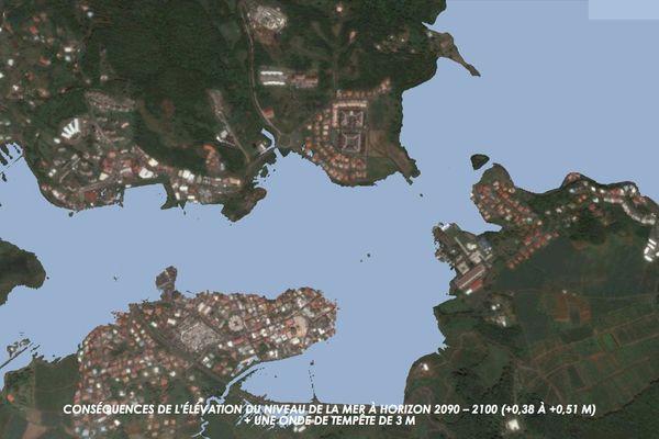 Le François (Martinique) en 2090-2100 avec une onde de tempête de trois mètres