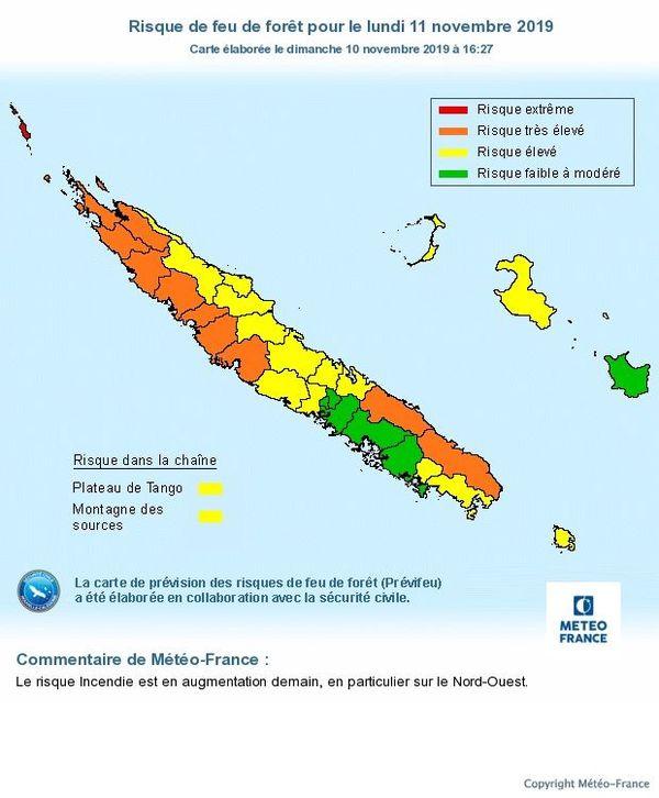 Carte prévisionnelle du risque feu le 11 novembre