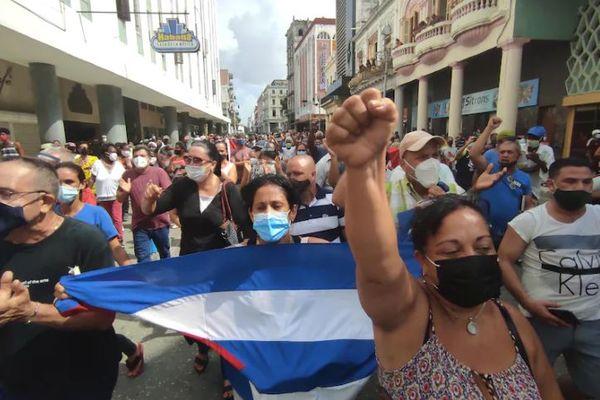 Manifestation à San Antonio de los Baños (Cuba)