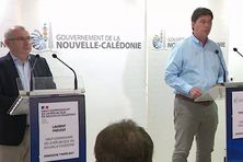 A gauche le haut-commissaire Laurent Prévost, et à droite le président du gouvernement Thierry Santa.