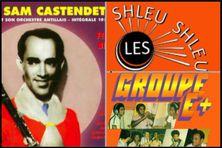 Les pochettes des chansons d'époque sur le crabe : Sam Castendet,  les Shleu Shleu de New York et Geno Exilie avec le groupe E+