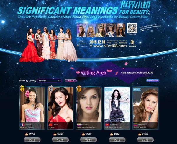 Hinarere, 1ère du classement des vots Miss World