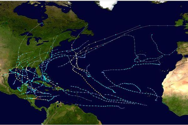 Trajectoires des 30 tempêtes et ouragans de 2020