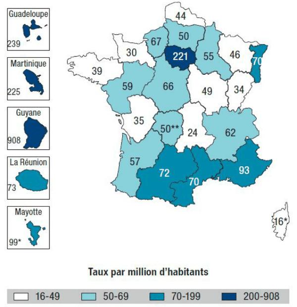 Taux de découverte de séropositivité en 2013 par million d'habitants