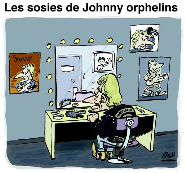 Le dessin de Souch : décès de Johnny - sosies