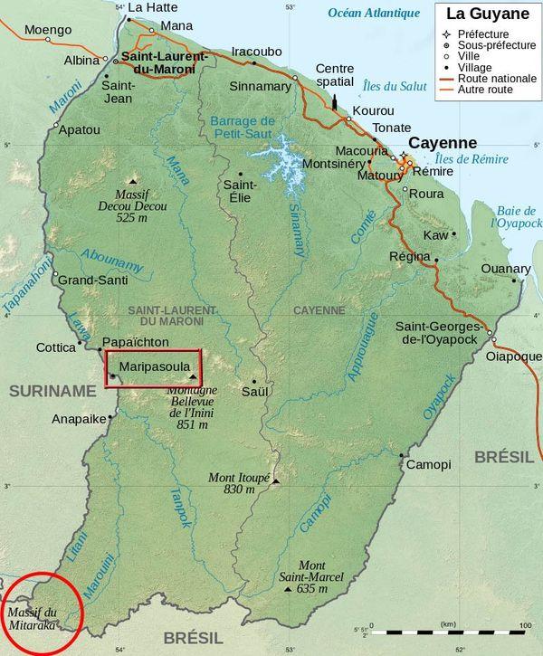 Carte de la Guyane