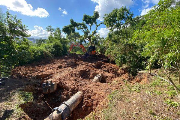 Affaissement de terrain au mont Té, canalisation fragilisée, 26 mai 2021