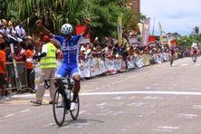 Mickaël Laurent a remporté la 4e étape, entre Sinnamary et Saint-Laurent (mardi 18 août 2015).