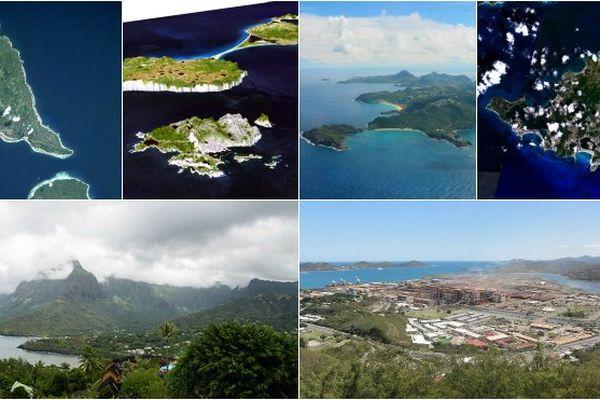 Prises de vue des six collectivités d'Outre-mer : Wallis et Futuna, Saint-Pierre et Miquelon, Saint-Barthélémy, Saint-Martin, la Polynésie et la Nouvelle-Calédonie.