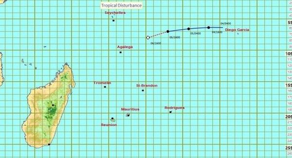 Prévision de trajectoire de l'île Maurice