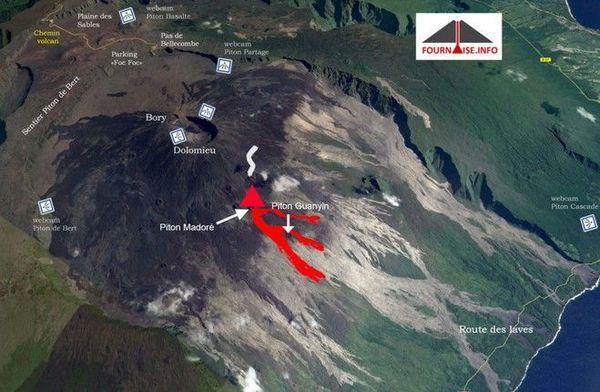 Piton de la Fournaise carte observation eruption 19 février 2019 au 090319