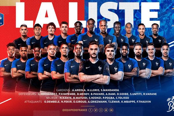 La liste officielle des 23 joueurs de l'Equipe de France de football pour le Mondial russe