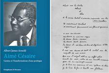 """A droite, un extrait manuscrit du """"Cahier d'un retour au pays natal"""" d'Aimé Césaire"""
