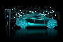 Allégorie d'un véhicule électrique et des composants métaux de sa batterie