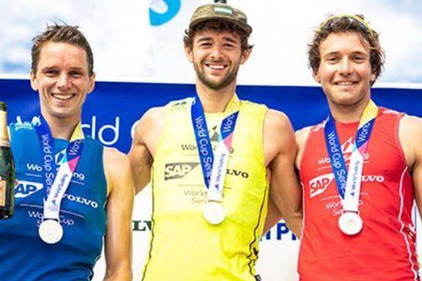 Le podium français à Hyères, Goyard est à droite.