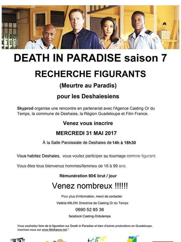 Death in paradise recherche de figurants