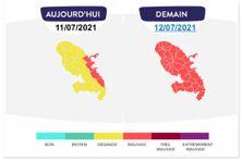 La qualité de l'air en Martinique les 11 et 12 juillet 2021.