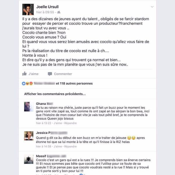 Post Facebook Joëlle Ursull