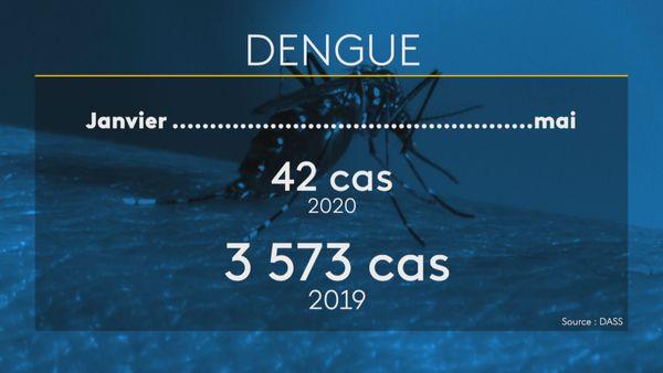 Cas de dengue de janvier à mai 2020