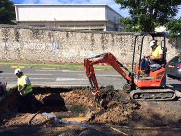 conduite d'eau cassée rue Bénébig Nouméa