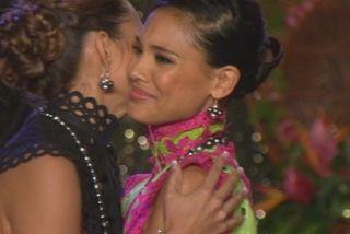 Hinarere Taputu, à l'annonce des résultats. Elle est élue Miss Tahiti 2015