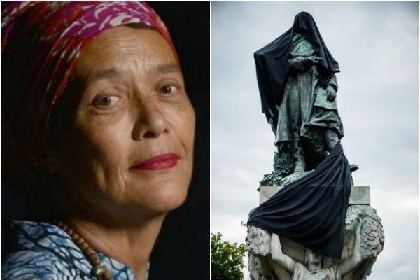 Françoise Vergès et la statue de Gallieni recouverte d'un voile noire