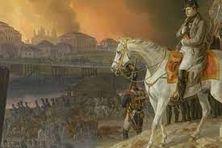 "Tableau de Adam Albrecht (1841) : ""Napoléon devant Moscou en flammes""."