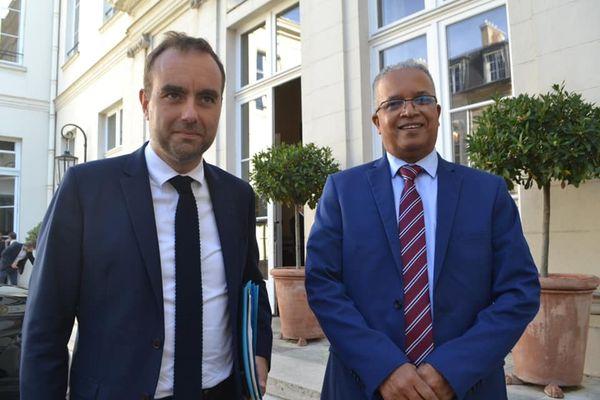 visite ministérielle Sébastien Lecornu ministre des Outre-mer et Cyrille Melchior, président du Département de La Réunion