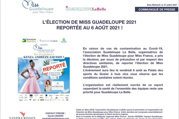 Communiqué Miss Guadeloupe