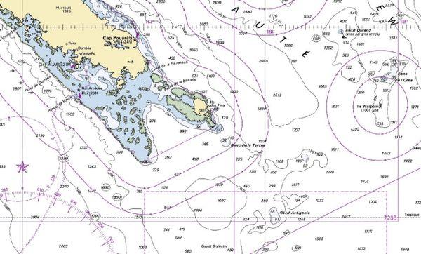 Carte marine lagon Sud récif Antigonia