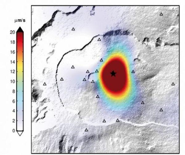 Image matérialisant la zone de l'éruption,