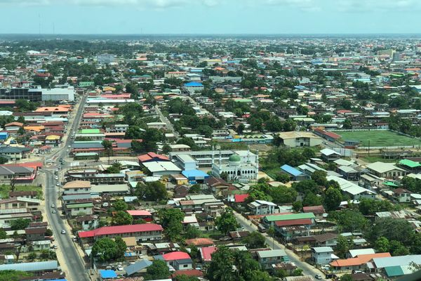 Vue aérienne de Paramaribo