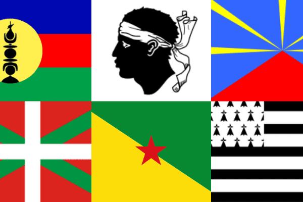 Drapeaux kanak, corse, réunionnais, basque, guyanais et breton